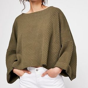 Free People Small Green Cropped Sweater